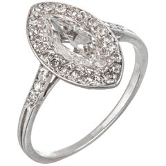 Rene Boivin Art Deco Marquise Shaped Diamond Cluster Ring in Platinum