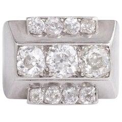 René Boivin Art Deco Old European Cut Diamond and Platinum Stepped Design Ring