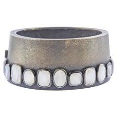 Rene Boivin Blackened Gold Moonstone Bangle Bracelet
