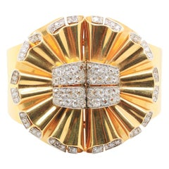 René Boivin Double Clip Diamond and Gold Bangle, 1940s