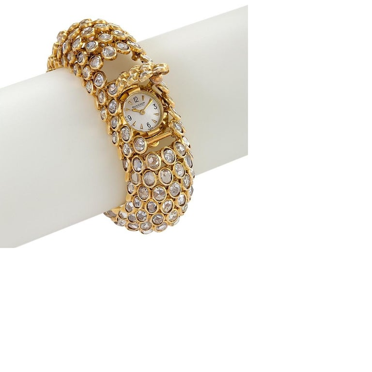 Rene Boivin Gold and Diamond Fishscale Design Bracelet Watch In Excellent Condition For Sale In New York, NY