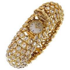 Rene Boivin Gold and Diamond Fishscale Design Bracelet Watch