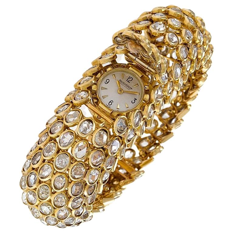 Rene Boivin Gold and Diamond Fishscale Design Bracelet Watch For Sale