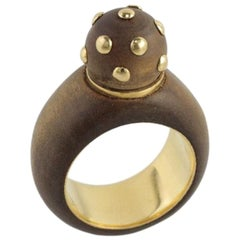 Rene Boivin Gold and Wood Dome Shaped Designer Ring