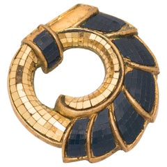 "René Boivin, ""Les Irradiantes"", Gilt and Blue Mirrored Mosaic Brooch, circa 1935"