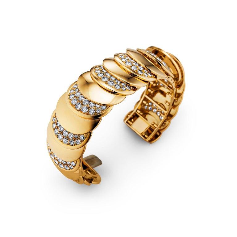 Round Cut Rene Boivin Paris Vintage Diamond Gold Bracelet For Sale