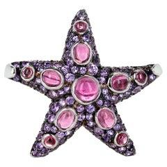René Boivin Pink Tourmaline and Purple Sapphire Star Brooch Etoile de mer