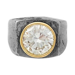 René Boivin Ring, Silver and Gold Set with a 2.96 Carat Diamond