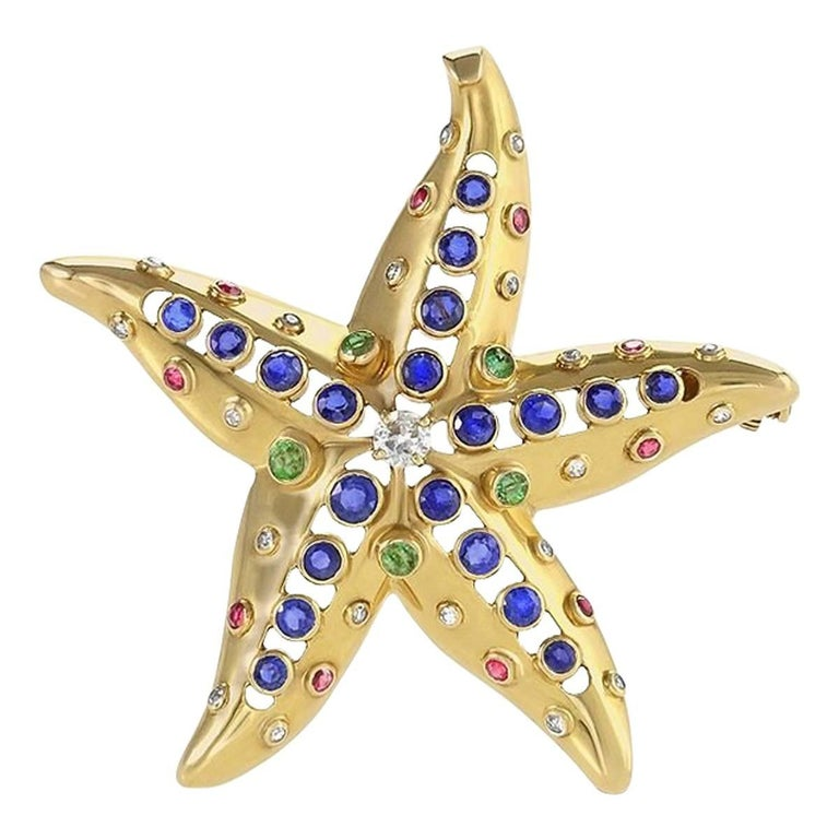 René Boivin Sapphire, Diamond, Emerald, Ruby and Gold Starfish Brooch For Sale