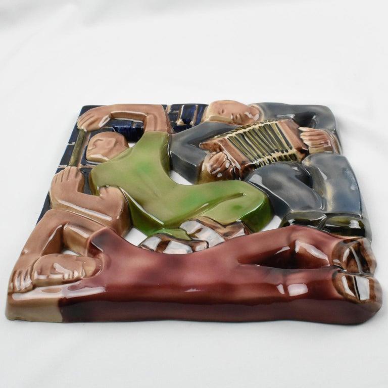 Rene Boschmans for Coceram Cubist Ceramic Tile Masonic Sign, a Trio For Sale 4