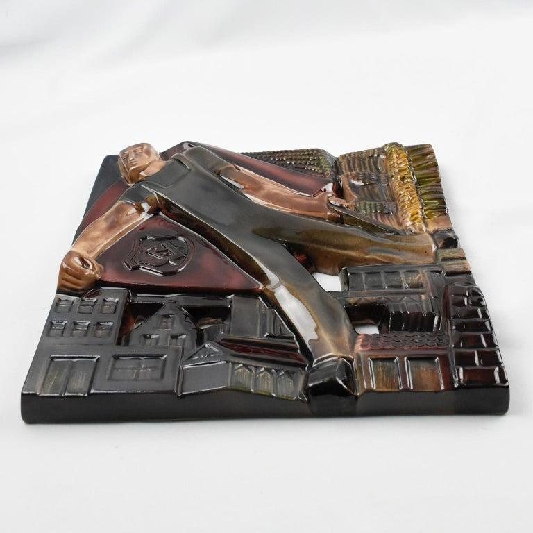 Rene Boschmans for Coceram Cubist Ceramic Tile Masonic Sign, a Trio For Sale 2