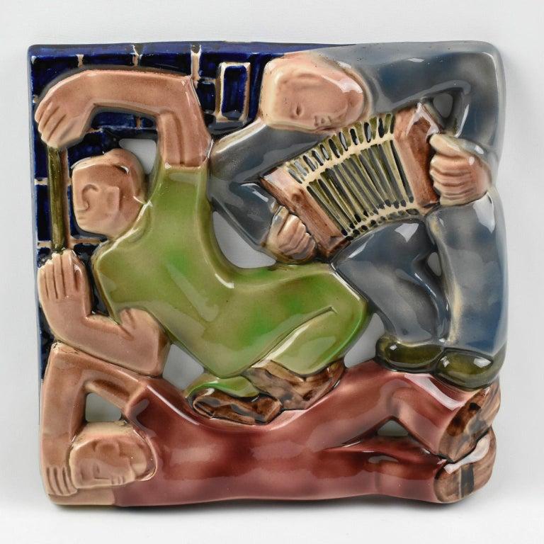 Rene Boschmans for Coceram Cubist Ceramic Tile Masonic Sign, a Trio For Sale 3