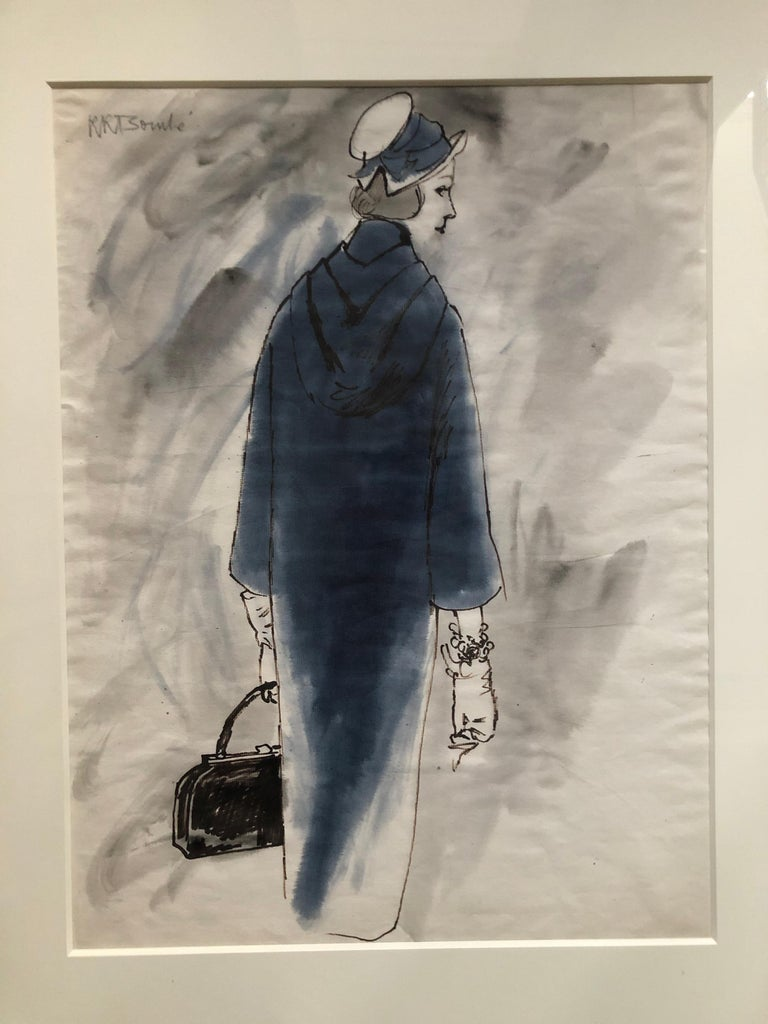 Rene Bouche Framed Original Blue Coat Illustration for Vogue. Rene Bouche was Vogue's in house artist through the fifties and in to the sixties, and had a remarkable range of talents.  His portraits and his fashion illustrations were featured in