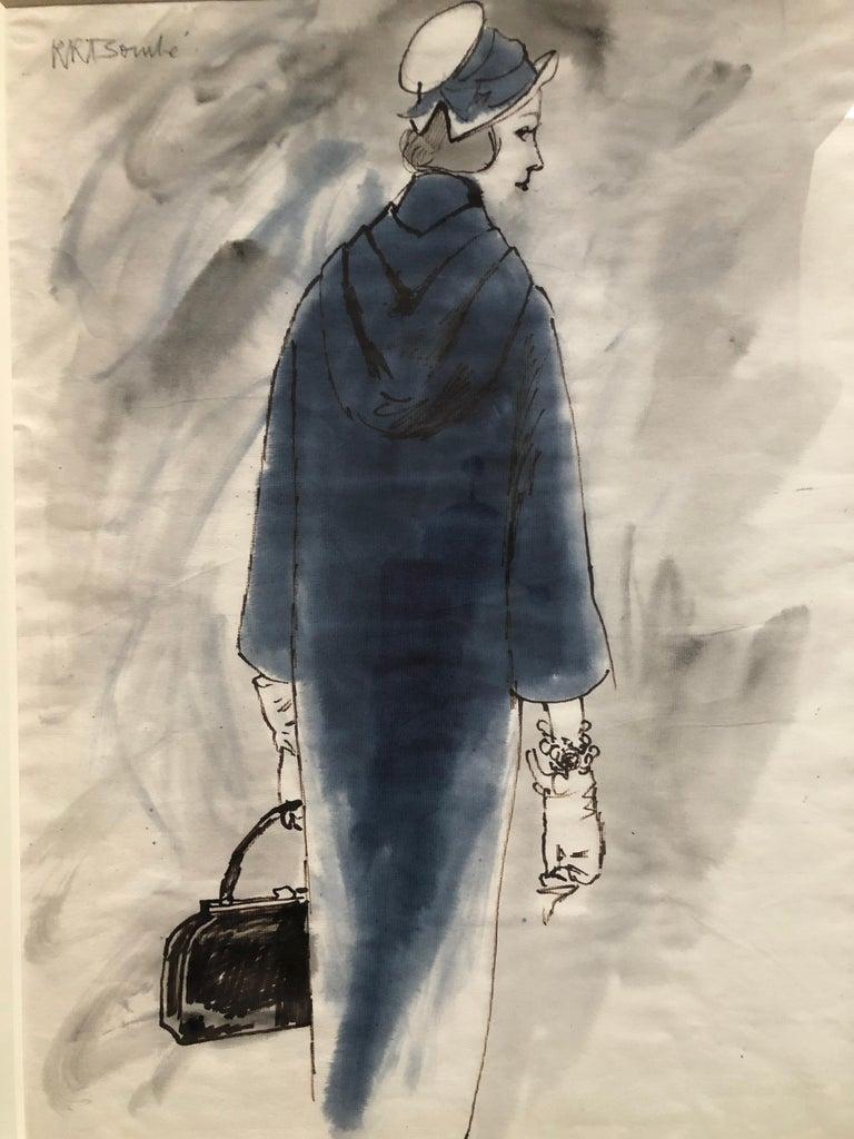 Beige Rene Bouche Framed Original 1950's Blue Coat Illustration for Vogue For Sale