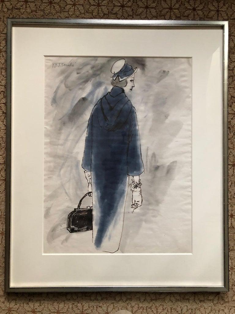 Women's Rene Bouche Framed Original 1950's Blue Coat Illustration for Vogue For Sale