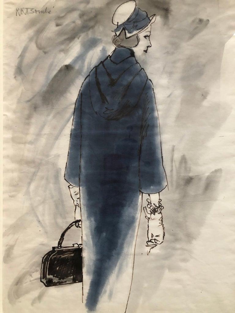 Rene Bouche Framed Original 1950's Blue Coat Illustration for Vogue For Sale 1