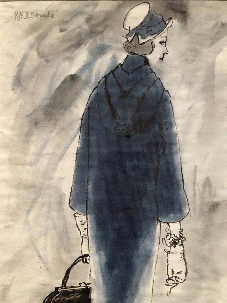 Rene Bouche Framed Original 1950's Blue Coat Illustration for Vogue For Sale 2