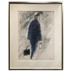 Rene Bouche Framed Original 1950's Blue Coat Illustration for Vogue