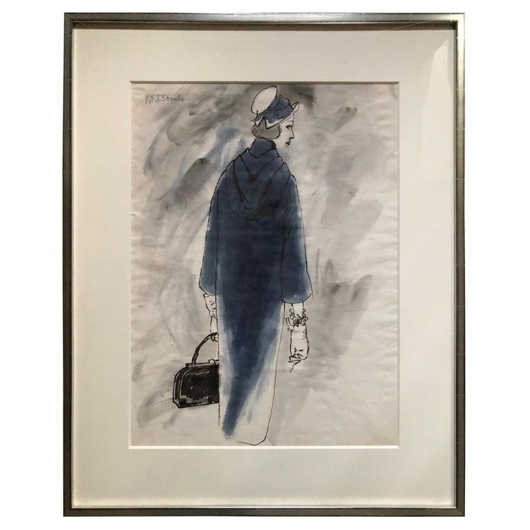 Rene Bouche Framed Original 1950's Blue Coat Illustration for Vogue For Sale