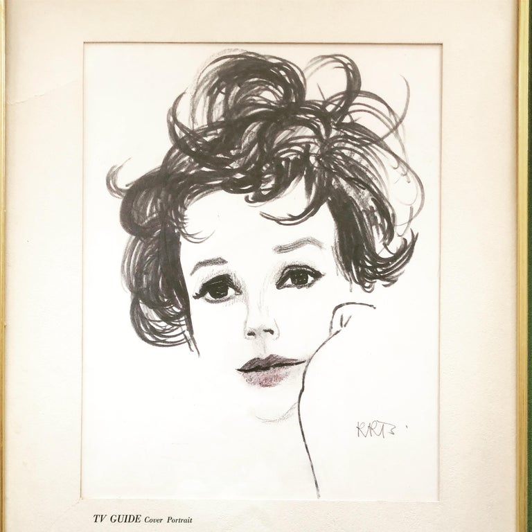 Rene Bouche portrait of Judy Garland for the cover of TV Guide 1963. Rene Bouche was one of the top fashion illustrators of postwar fashion, and this portrait is the perfect example of his later style. This is an original photographic artwork that