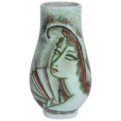 René Buthaud, Ceramic Vase of Woman with Fan, circa 1920s