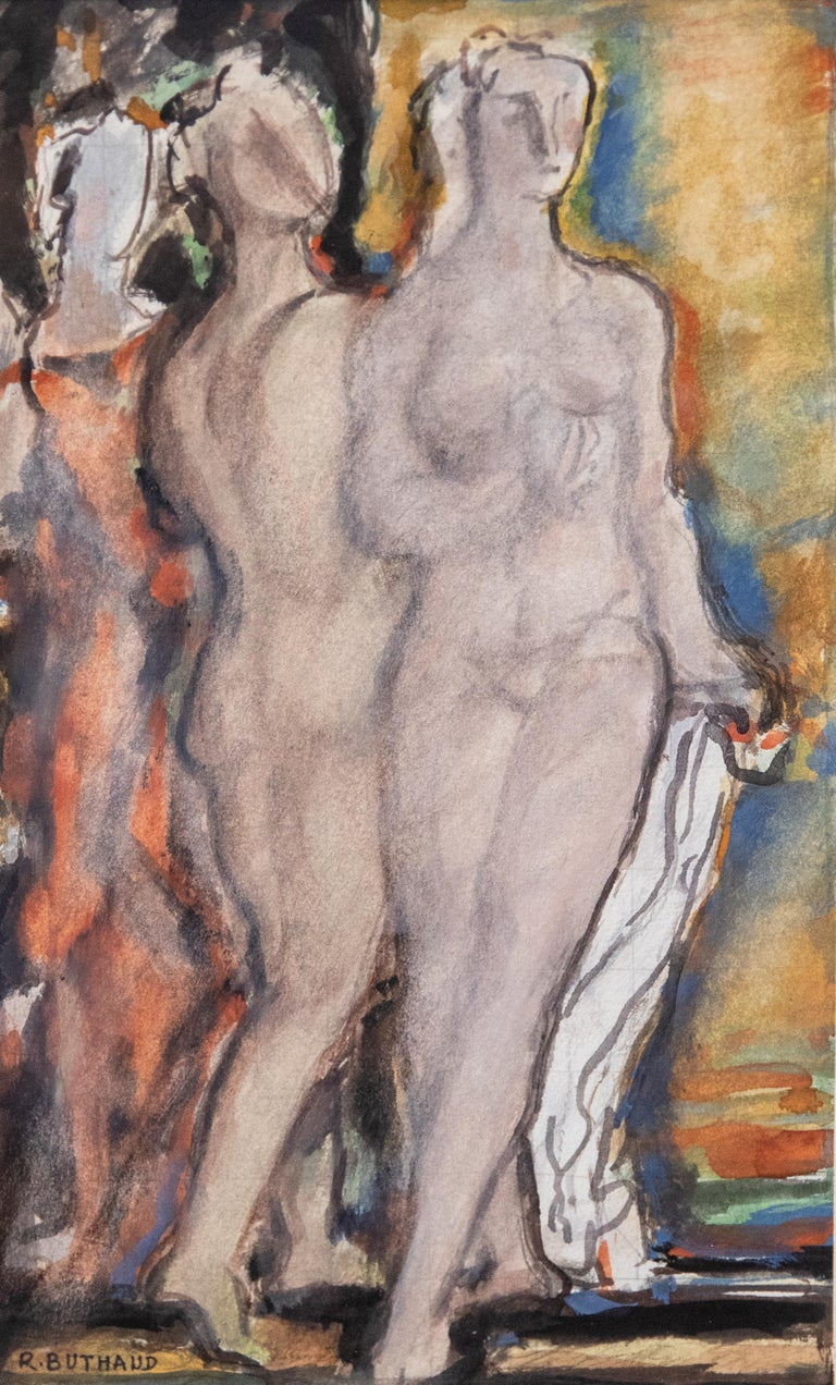 René Buthaud midcentury nude study, signed gouache on paper. Provenance: The artist, collection Michel Fortin, Paris: Collection of Stephen Engel, Florida: Literature: Cruège, René Buthaud. René Buthaud was seen as the most accomplished and
