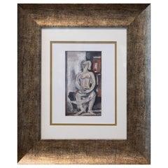 René Buthaud Mid Century Nude Study, Signed Gouache on Paper