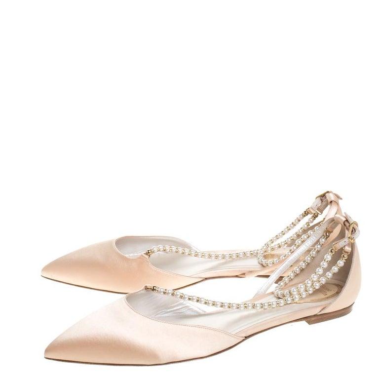 Renè Caovilla Beige Satin Faux Pearl Ankle Wrap Pointed Toe Flats Size 40.5 For Sale 1