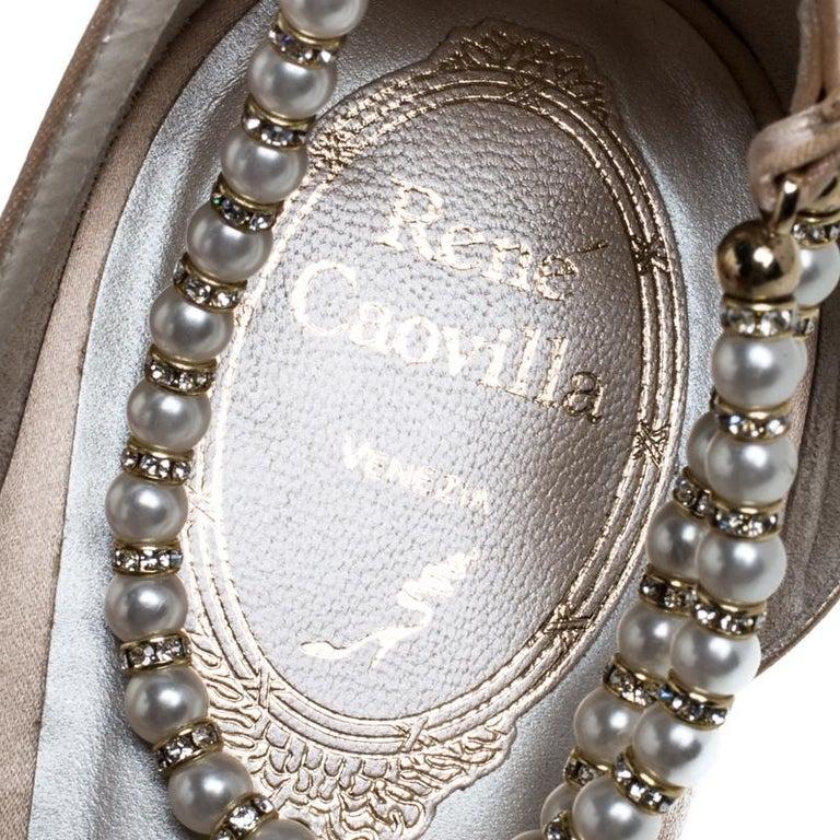 Renè Caovilla Beige Satin Faux Pearl Ankle Wrap Pointed Toe Flats Size 40.5 For Sale 2