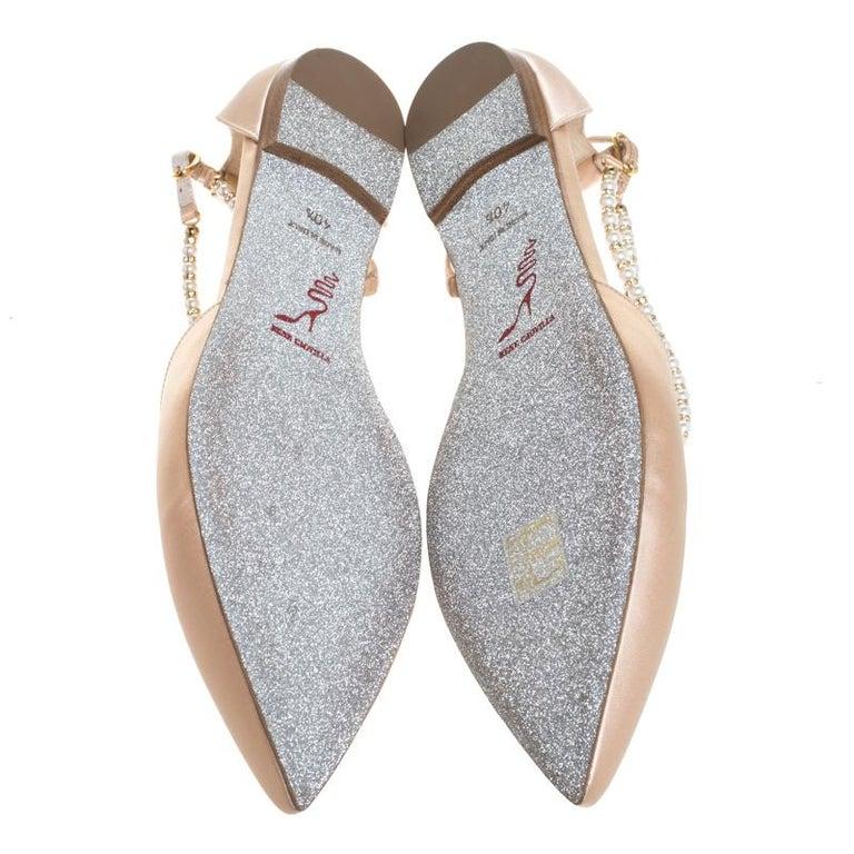 Renè Caovilla Beige Satin Faux Pearl Ankle Wrap Pointed Toe Flats Size 40.5 For Sale 3