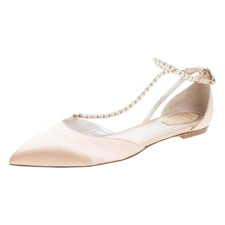 Renè Caovilla Beige Satin Faux Pearl Ankle Wrap Pointed Toe Flats Size 40.5 For Sale