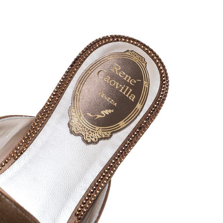 René Caovilla Beige Velvet Crystal Embellished Pointed Flat Mules Size 38 For Sale 2