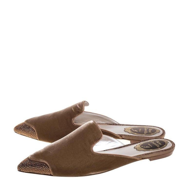 René Caovilla Beige Velvet Crystal Embellished Pointed Flat Mules Size 38 For Sale 3