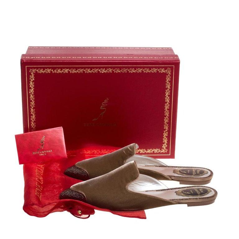 René Caovilla Beige Velvet Crystal Embellished Pointed Flat Mules Size 38 For Sale 4