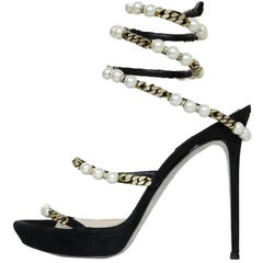 Rene Caovilla Black Embellished Faux Pearl and Chain-Link Pumps