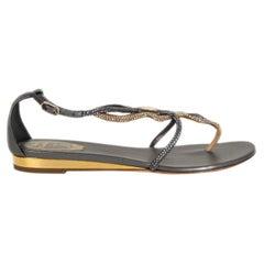 RENE CAOVILLA black & gold RHINESTONE EMBELLISHED Flat Sandals Shoes 36.5