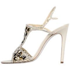 Rene Caovilla Black/Grey/Gold High Heel Sandals W/ Crystals sz 40