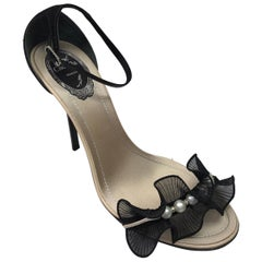 Rene Caovilla black heel w/ ruffle & pearl detail on toe strap-39