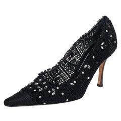 René Caovilla Black Lace And Canvas Crystal Embellished Pumps Size 40