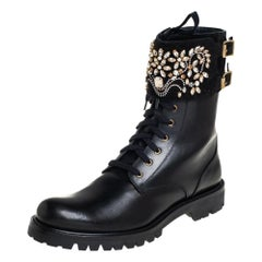 Rene Caovilla Black Leather And Crystal Embellished Suede Combat Boots Size 40