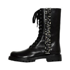 Rene Caovilla Black Leather Crystal Embellished Combat Boots sz 38