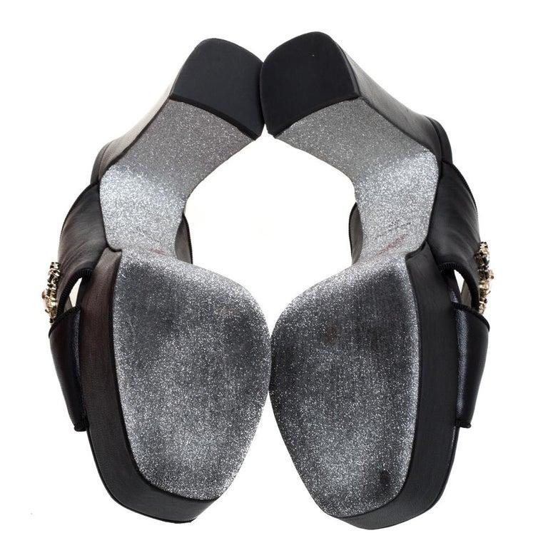 Women's René Caovilla Black Leather Crystal Embellished Peep Toe Platform Mules Size 38 For Sale