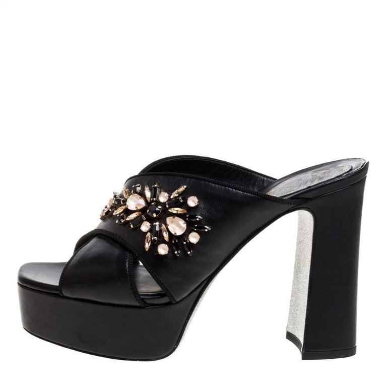 René Caovilla Black Leather Crystal Embellished Peep Toe Platform Mules Size 38 For Sale 1