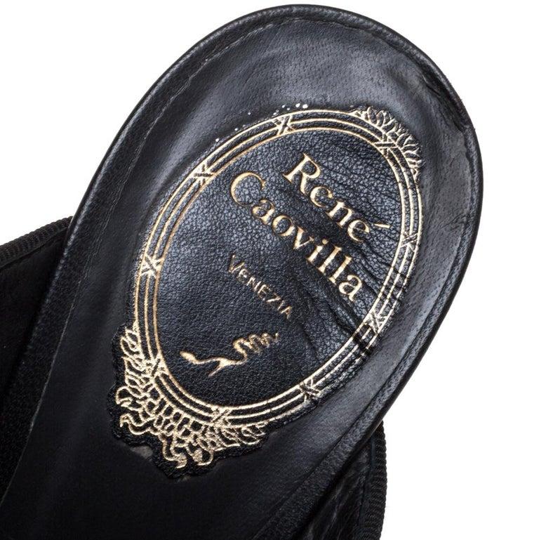 René Caovilla Black Leather Crystal Embellished Peep Toe Platform Mules Size 38 For Sale 2
