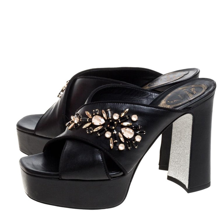 René Caovilla Black Leather Crystal Embellished Peep Toe Platform Mules Size 38 For Sale 3