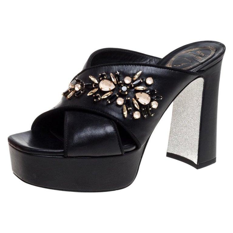 René Caovilla Black Leather Crystal Embellished Peep Toe Platform Mules Size 38 For Sale