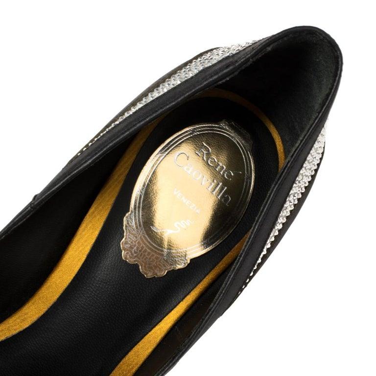 René Caovilla Black Satin And Leather Crystal Embellished Pumps Size 38 For Sale 3
