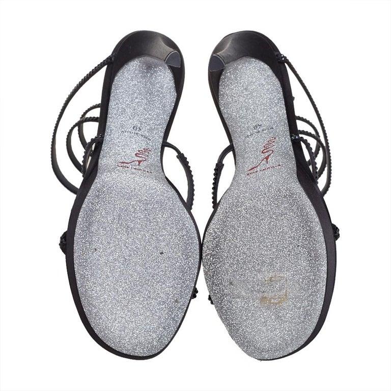 Women's René Caovilla Black Satin Ankle Wrap Cleo Sandals Size 40 For Sale