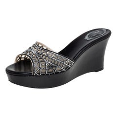Rene Caovilla Black Satin Crystal Embellished Wedge Slide Sandals Size 40