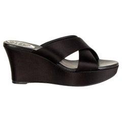 RENE CAOVILLA black SATIN WEDGE Sandals Shoes 38.5